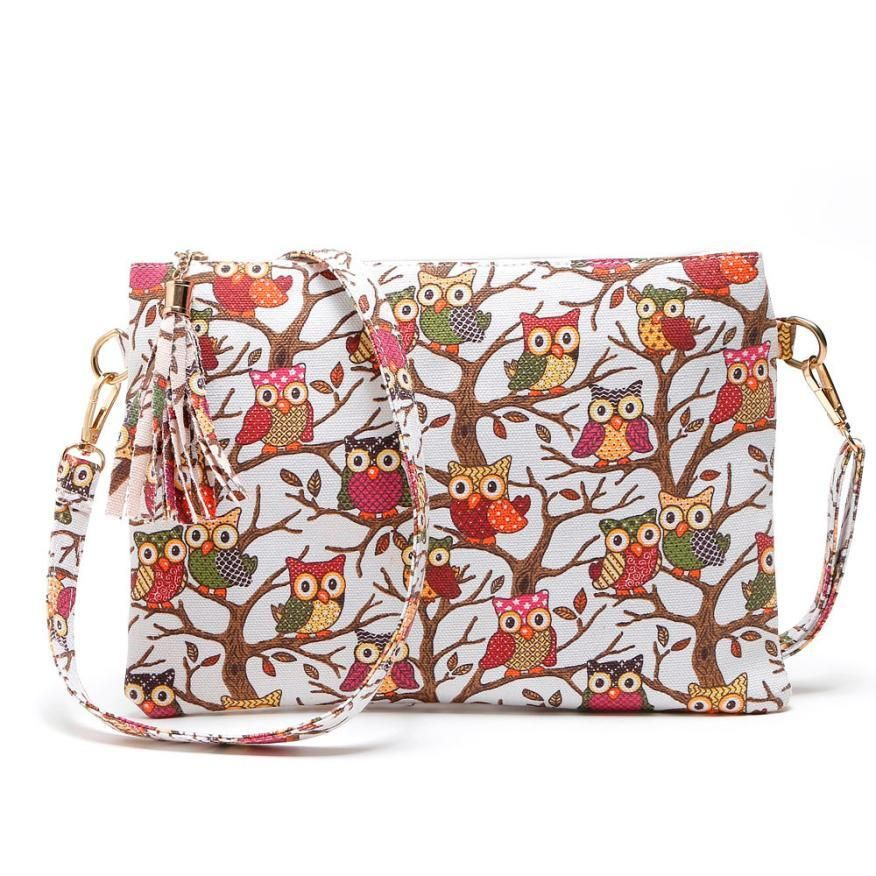 Fashionable Shoulder Bag with Printed Owl Design for Women - Owl Gifts Shop