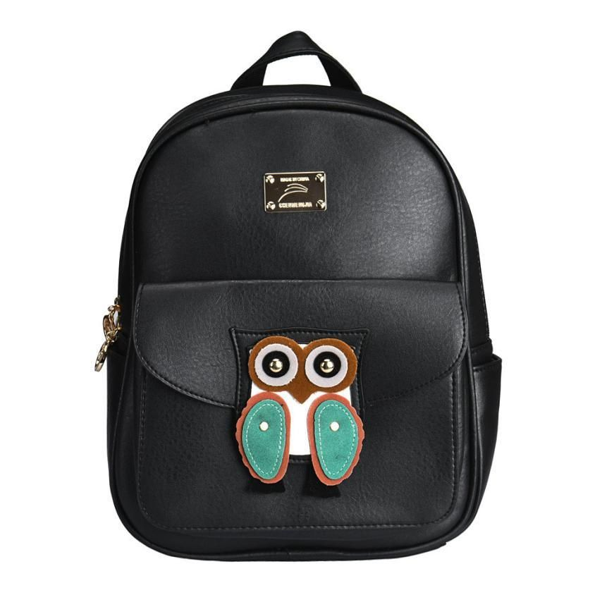 Stylish Black PU Leather Owl Backpack for Women - Owl Gifts Shop