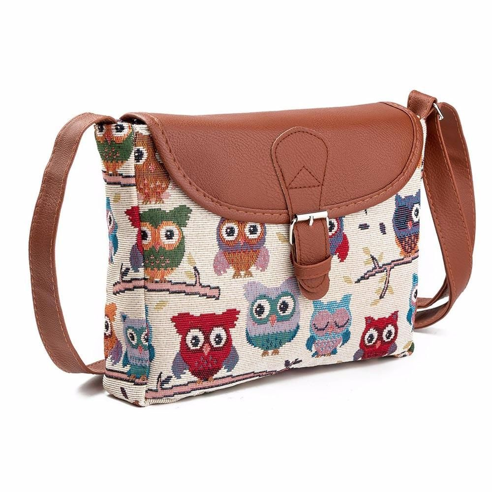 Small Crossbody Shoulder Bag with Owl Print Design - Owl Gifts Shop