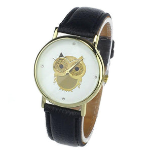 Fashionable Quartz Wrist Watch for Women with Golden Owl Decor - Owl Gifts Shop