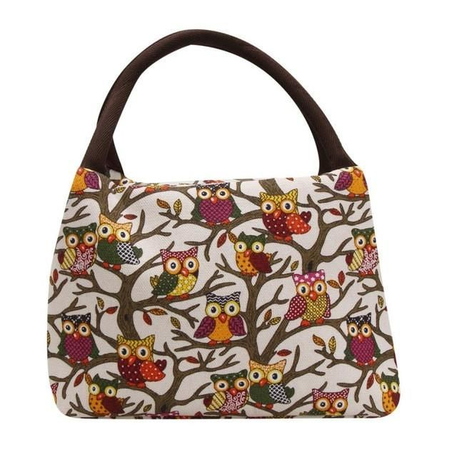 Thermal Insulated Lunch Handbag with Cooler Box and Cute Owl Printing - Owl Gifts Shop