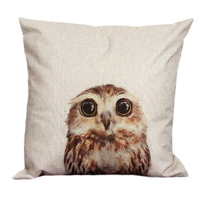 Vintage Style Cotton Linen Pillow Cover with Owl printing - Owl Gifts Shop