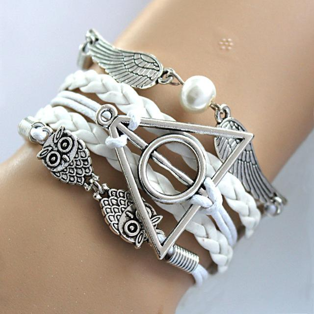 Vintage Owl Multi Layers Bracelet with Harry Potter sign of the Deathly Hallows - Owl Gifts Shop