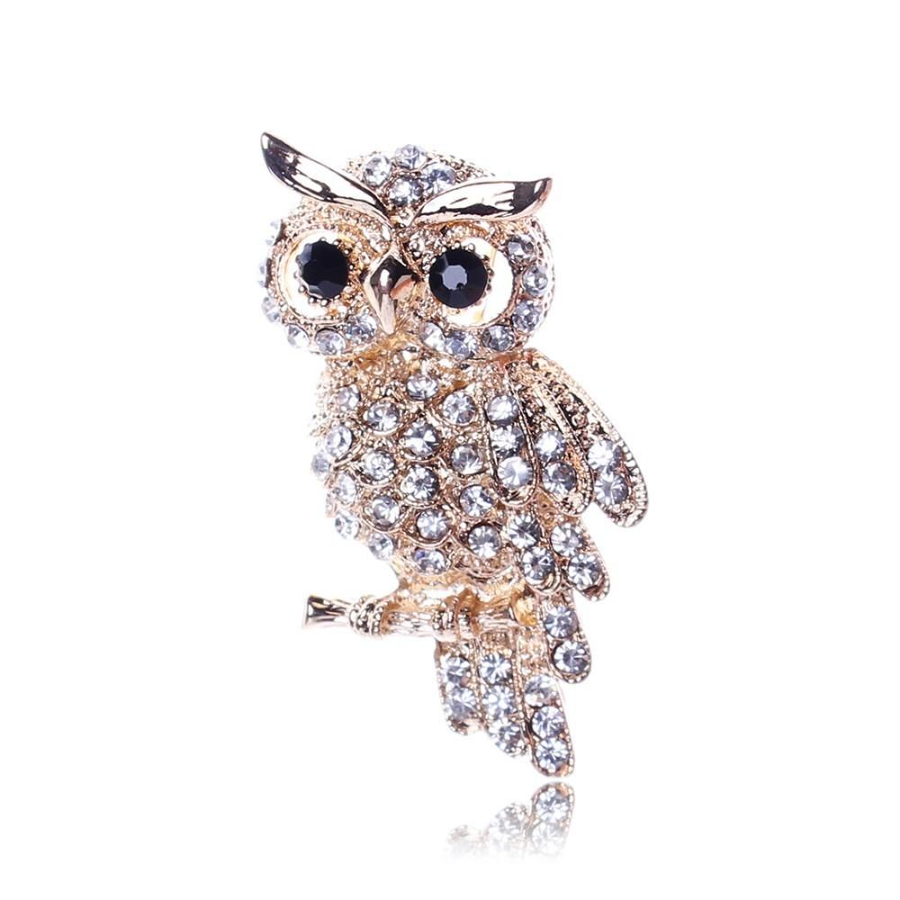 Fashionable Gold Color Owl Style Shiny Crystal Rhinestone Brooches