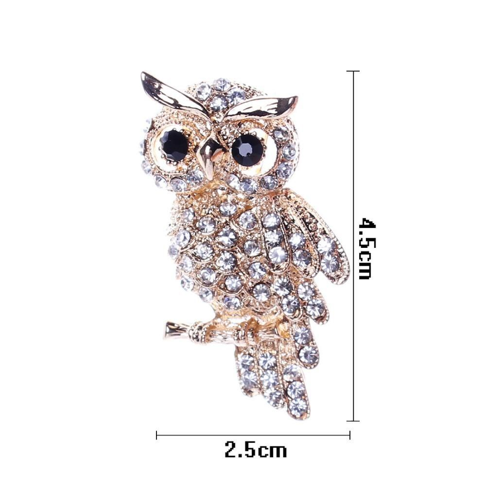 Fashionable Gold Color Owl Style Shiny Crystal Rhinestone Brooches - Owl Gifts Shop