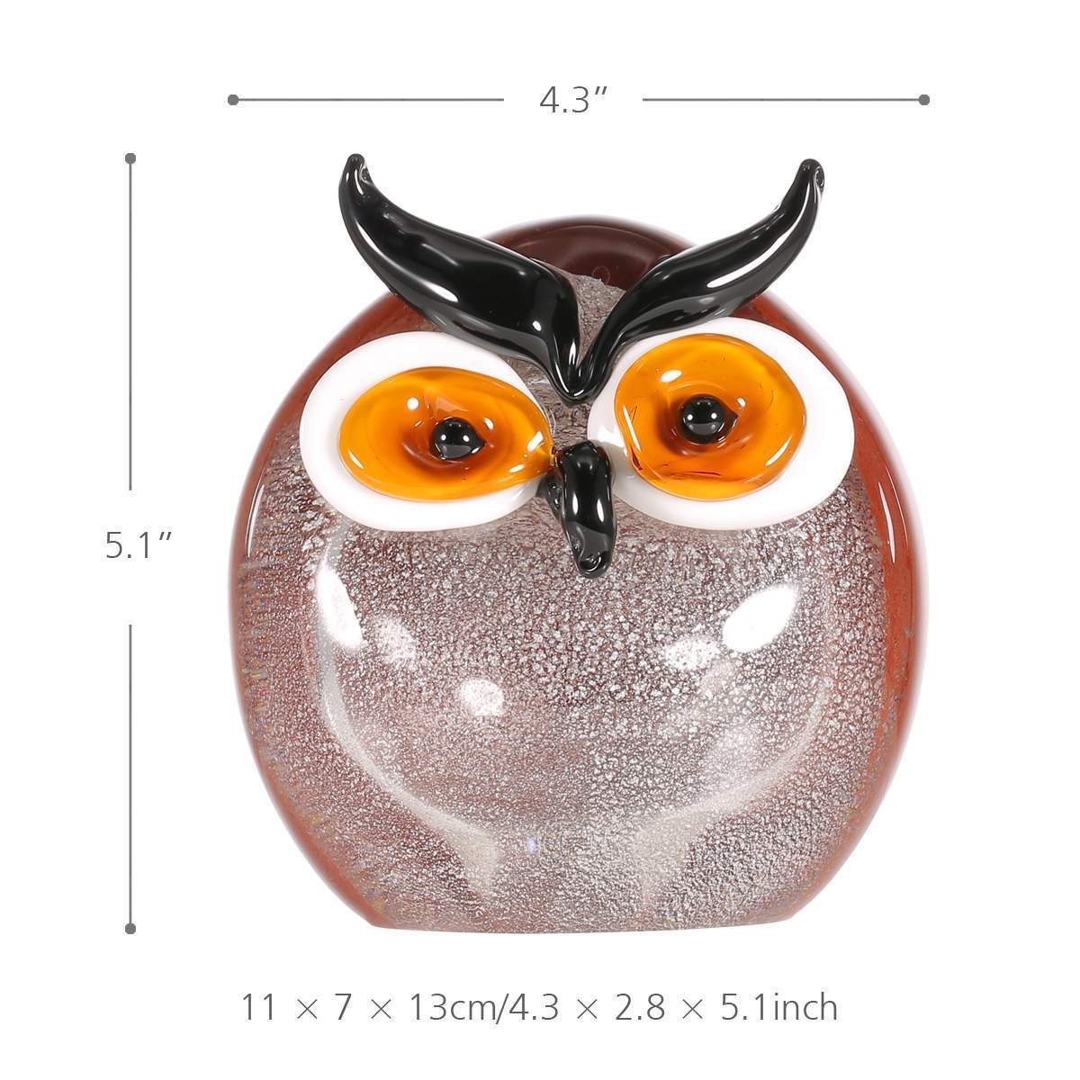 Chubby Owl Figurine Glass Ornament - Owl Gifts Shop