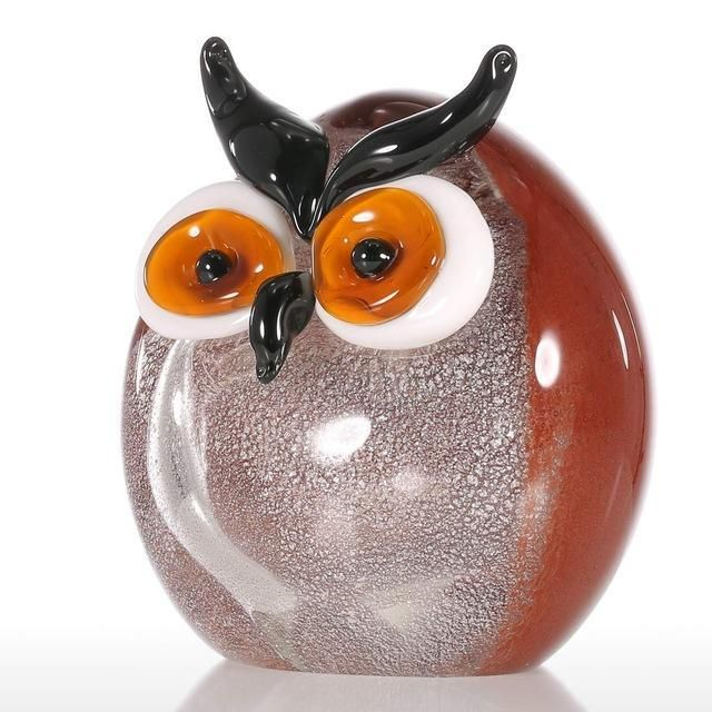 Chubby Owl Figurine Glass Ornament