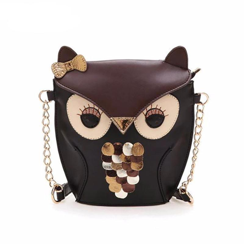 Fashionable Owl Pattern PU Leather Shoulder Bag for Women