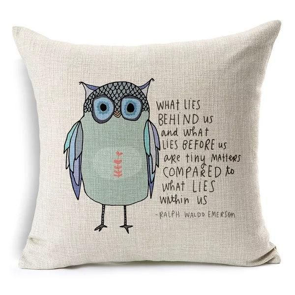 Cute Owl Cartoon Decorative Pillow Cover - Owl Gifts Shop
