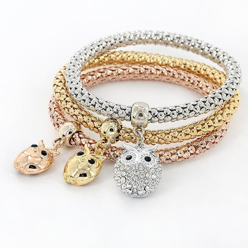 3 Pieces Set Crystal Bead Bracelet for Women Decorated with Crystal Owl Charm