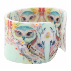 Acrylic Design Wide Owl and Flowers Bangles Bracelet for Women - Owl Gifts Shop