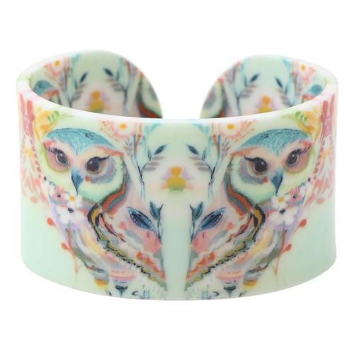 Acrylic Design Wide Owl and Flowers Bangles Bracelet for Women