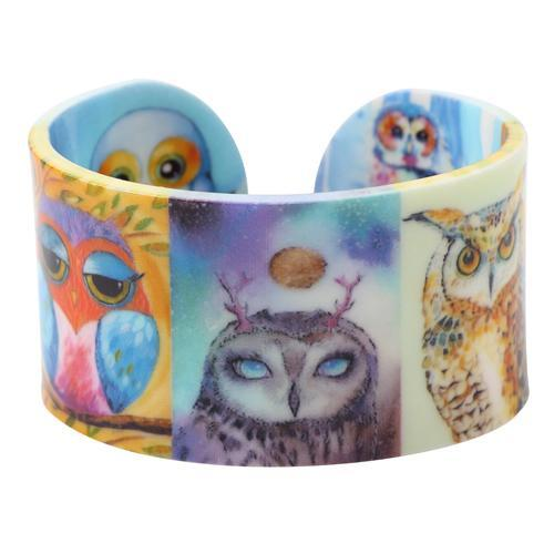 Acrylic Design Wide Owl Bangles Bracelet for Women - Owl Gifts Shop