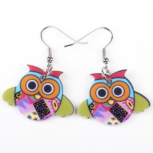 Drop Owl Earrings Acrylic Pattern for Girls