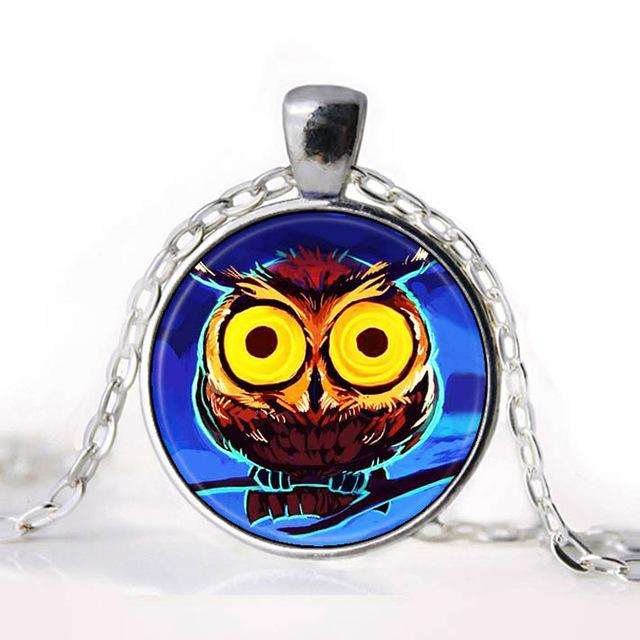 Gothic Owl Round  Glass Pendant Necklace for Girls - Owl Gifts Shop