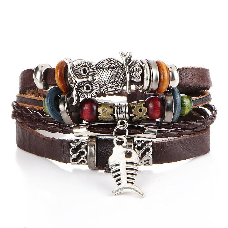 Punk Design Wristband Bracelets for Men and Women with Owl Charm - Owl Gifts Shop