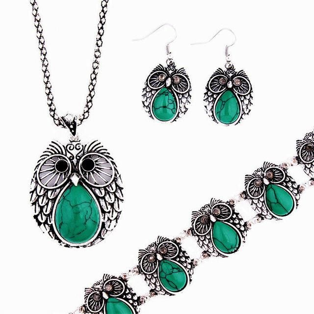 Vintage Style Owl Jewelry Set Necklace, Earring and Bracelet for Women - Owl Gifts Shop