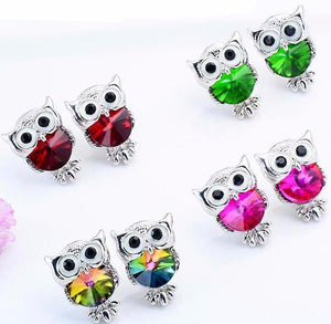 Cute Owl Stud Earring Decorated with Colorful Rhinestones for Girls