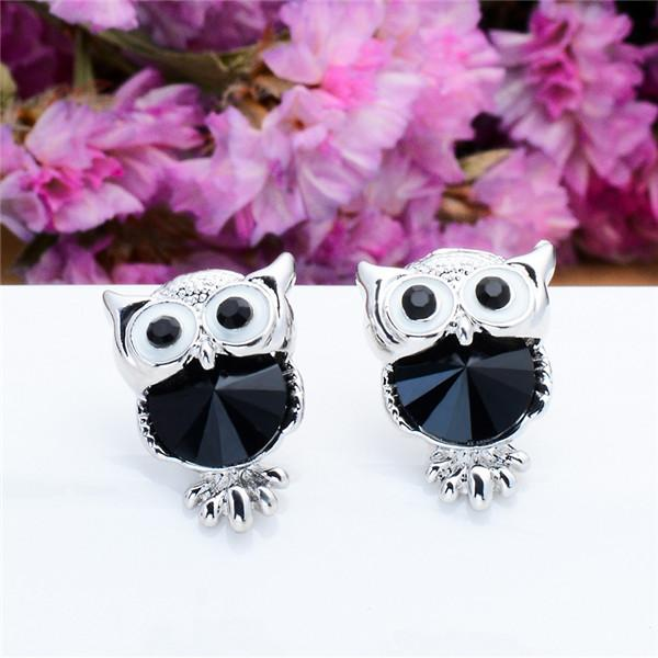 Cute Owl Stud Earring Decorated with Colorful Rhinestones for Girls - Owl Gifts Shop