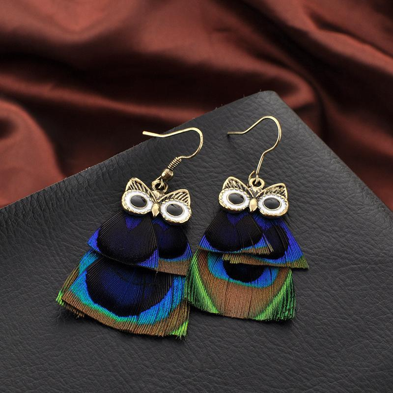 Bohemian Style Cute Owl Dangle Earrings with Indian Peacock Feather for Women - Owl Gifts Shop