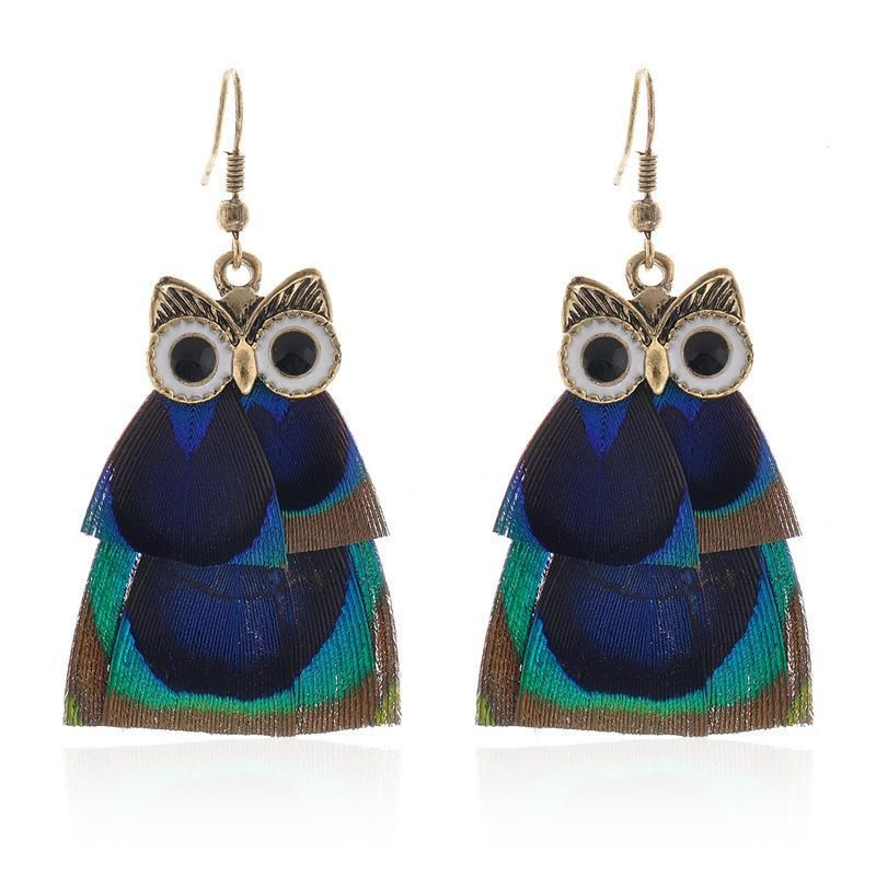 Bohemian Style Cute Owl Dangle Earrings with Indian Peacock Feather for Women