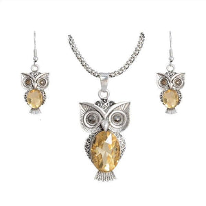 Owl Shape Cubic Zirconia Necklace and Earrings Set for women - Owl Gifts Shop