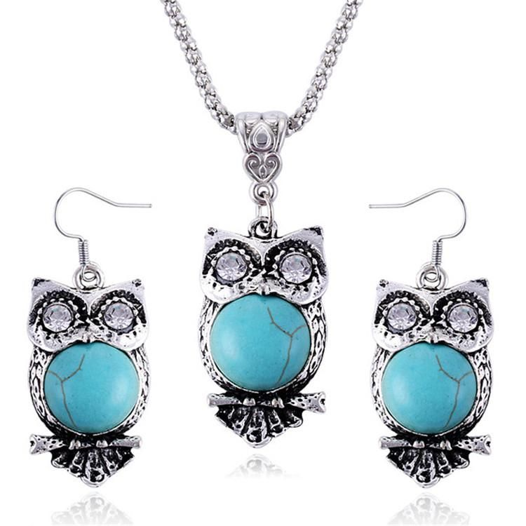 Jewelry Sets for Women Owl Shaped Necklace and Drop Earrings Decorated with Tibetan Stone - Owl Gifts Shop