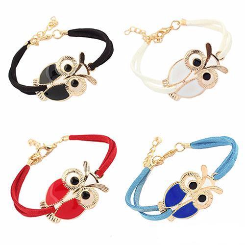 Faux Leather Charm Bracelet with Owl Decoration for Girls