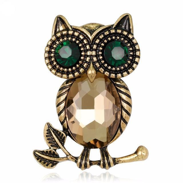 Women's Retro Rhinestone Owl Pin Brooch - Owl Gifts Shop