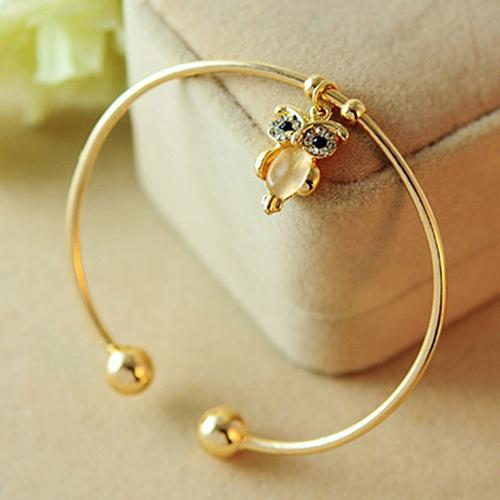 Cuff Bracelet with Golden Rhinestone Owl Decor for Women - Owl Gifts Shop