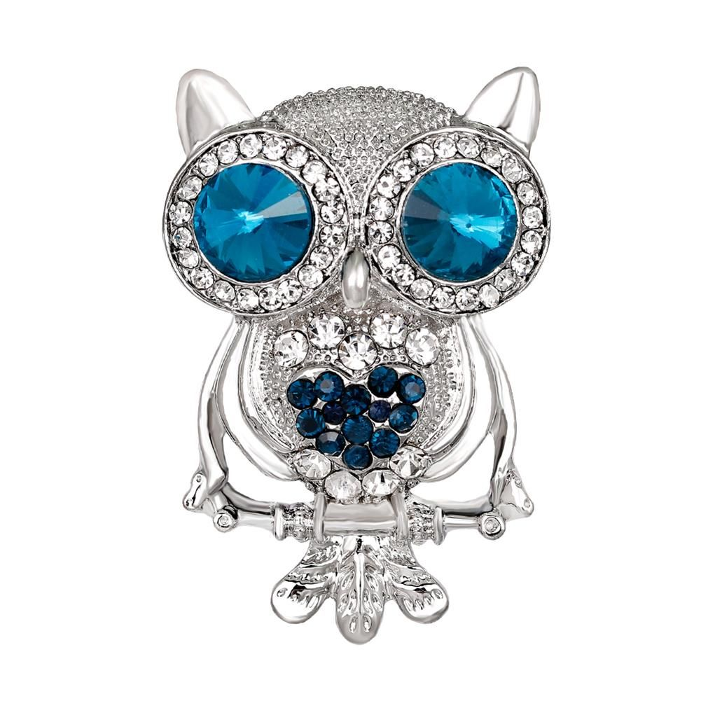 Women's Fashion Owl Rhinestone Inlaid Brooch for Dresses and Scarfs - Owl Gifts Shop