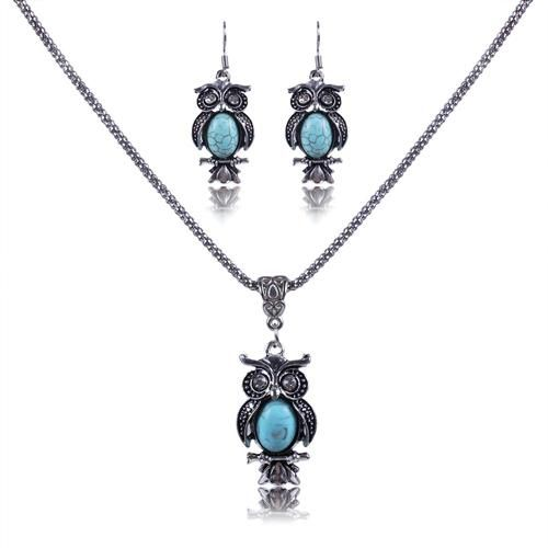 Women's Vintage Set including Owl Earrings and Matching Necklace - Owl Gifts Shop