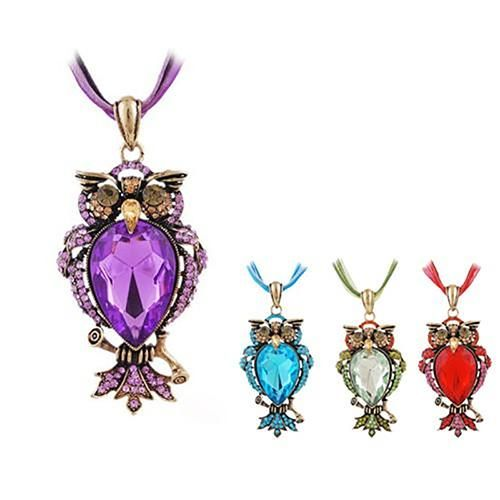 Shiny Rhinestone Cute Owl Pendant Chain Necklace