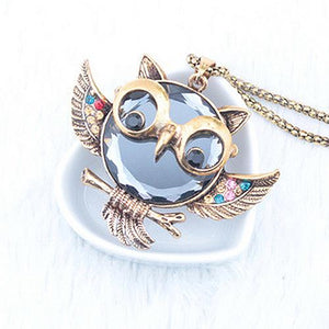 Long Chain Necklace Retro Alloy Rhinestone Owl Pendant - Owl Gifts Shop