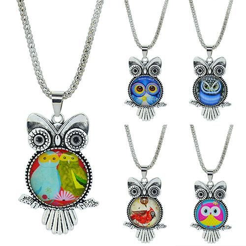 Owl Shaped Pendant with Dome Glass Cabochon and a Long Chain Necklace