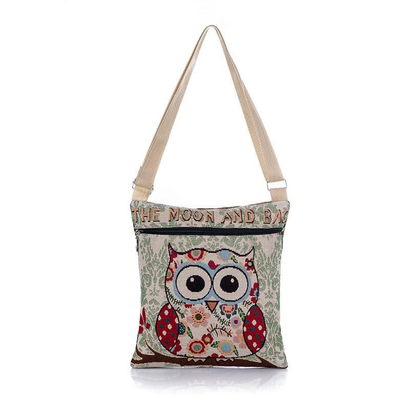 Ladies Shoulder Bag with Zipper Closure and Embroidered Owl Decor - Owl Gifts Shop