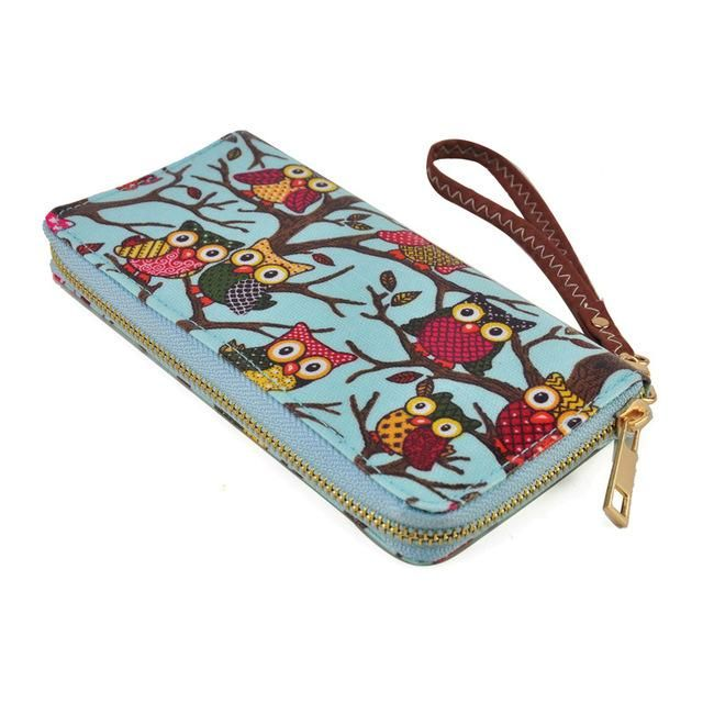 Owl Printed Zipper Long Purse for Women - Owl Gifts Shop