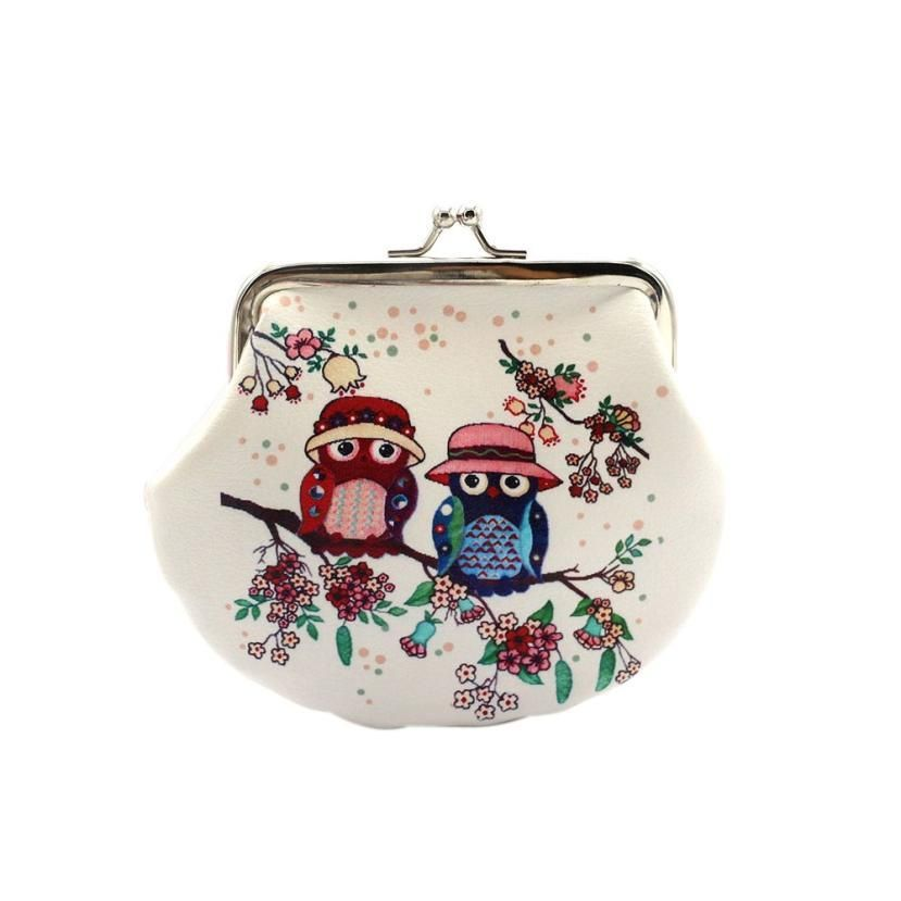 Small Retro Design Women's Coins bag with Owl Print - Owl Gifts Shop