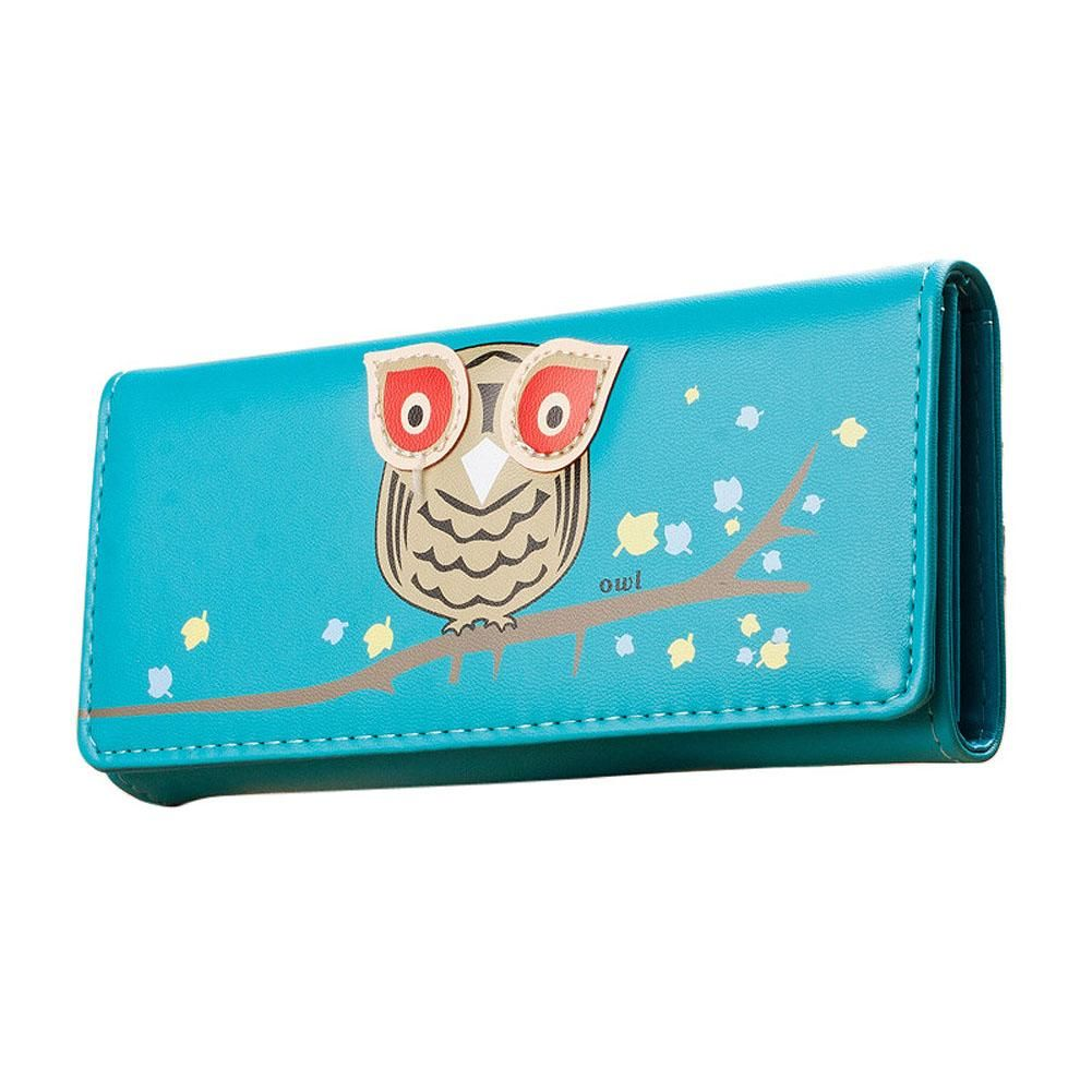 Owl Pattern Long Wallet made of PU Leather - Owl Gifts Shop