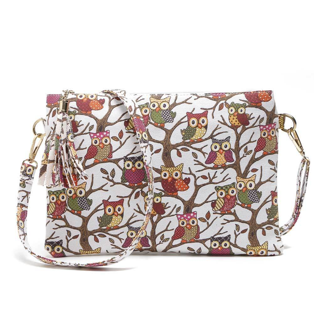 Crossbody  Shoulder Bag made of Canvas Decorated with Owls Printing - Owl Gifts Shop