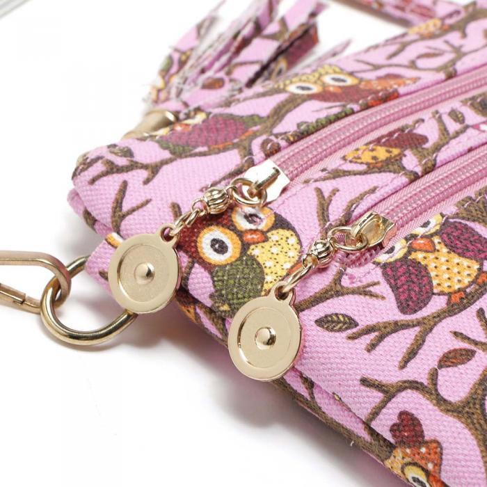 Owl Printed Double Zippers Women Shoulder Bag - Owl Gifts Shop