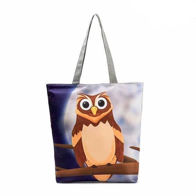 Lovely Owl Printed Large Capacity Shoulder Bag for Women made of Canvas - Owl Gifts Shop