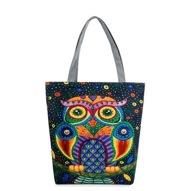 Canvas Shoulder Beach Bag with Owl Print - Owl Gifts Shop