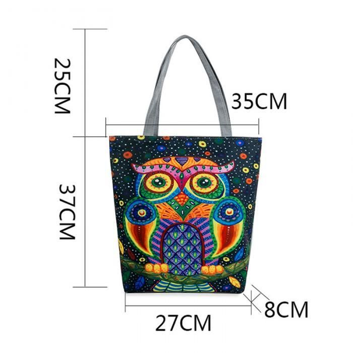 Canvas Shoulder Beach Bag with Owl Print