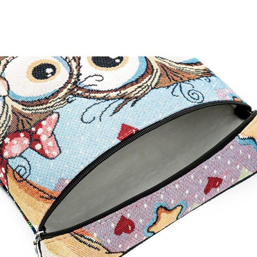 Jacquard Canvas Shoulder Bag with Zipper Decorated with Big Eye Owl Print - Owl Gifts Shop