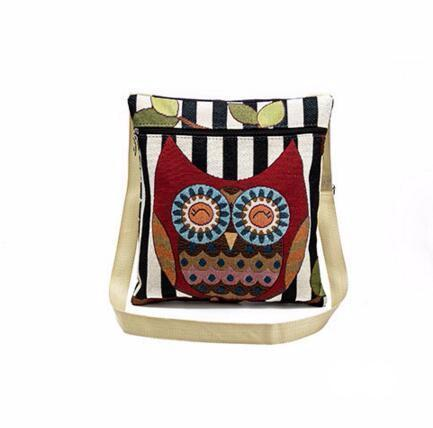 Canvas Shoulder Bag with Zipper Decorated with Big Eye Owl Print - Owl Gifts Shop