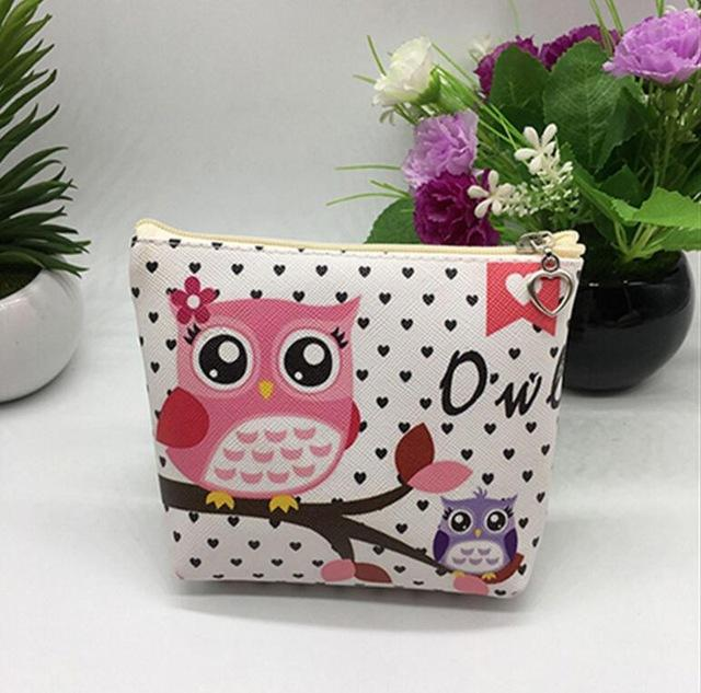 Coin Bag Made of PU Leather with Printed Owl Design - Owl Gifts Shop