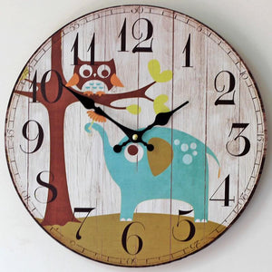 Owl & Elephant Antique Style Wooden Clock - Owl Gifts Shop