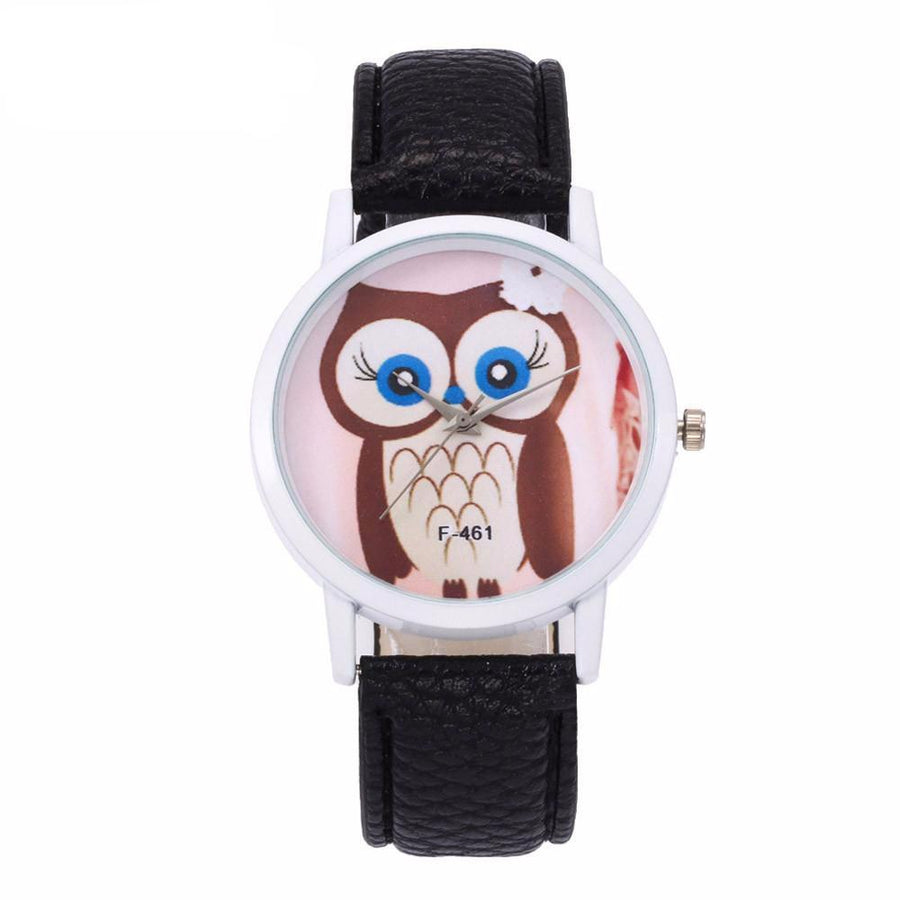 Funny Owl Pattern Quartz Analog Wristwatch with Canvas Band - Owl Gifts Shop