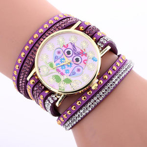 Canvas Bracelet Watch with Cartoon Owl Design For Girls - Owl Gifts Shop
